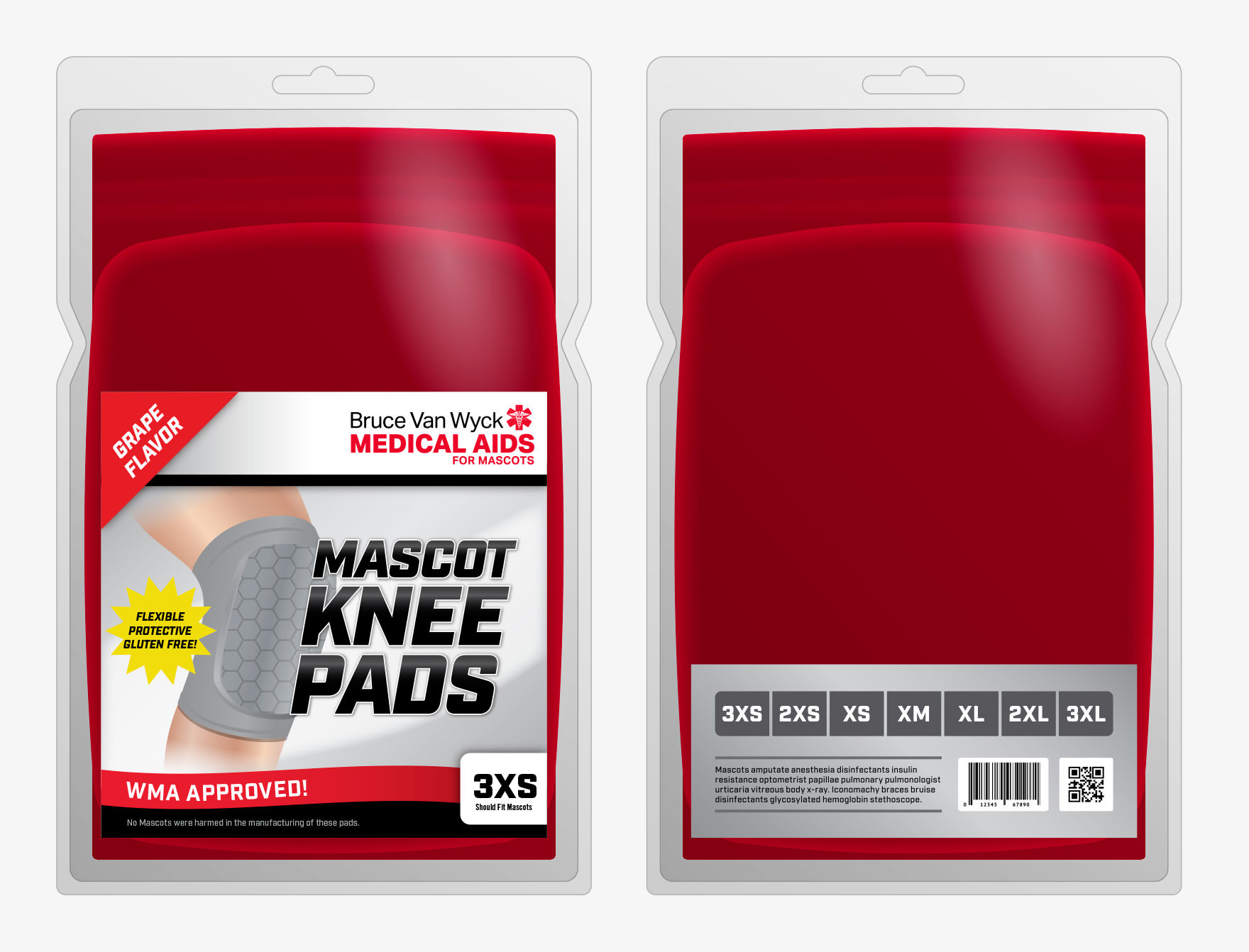 Mascots: Packaging Knee Pads Mockup