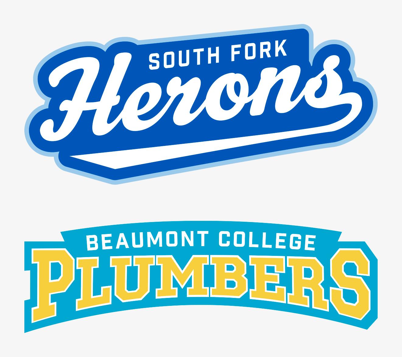 Mascots: Herons and Plumbers Team Logo