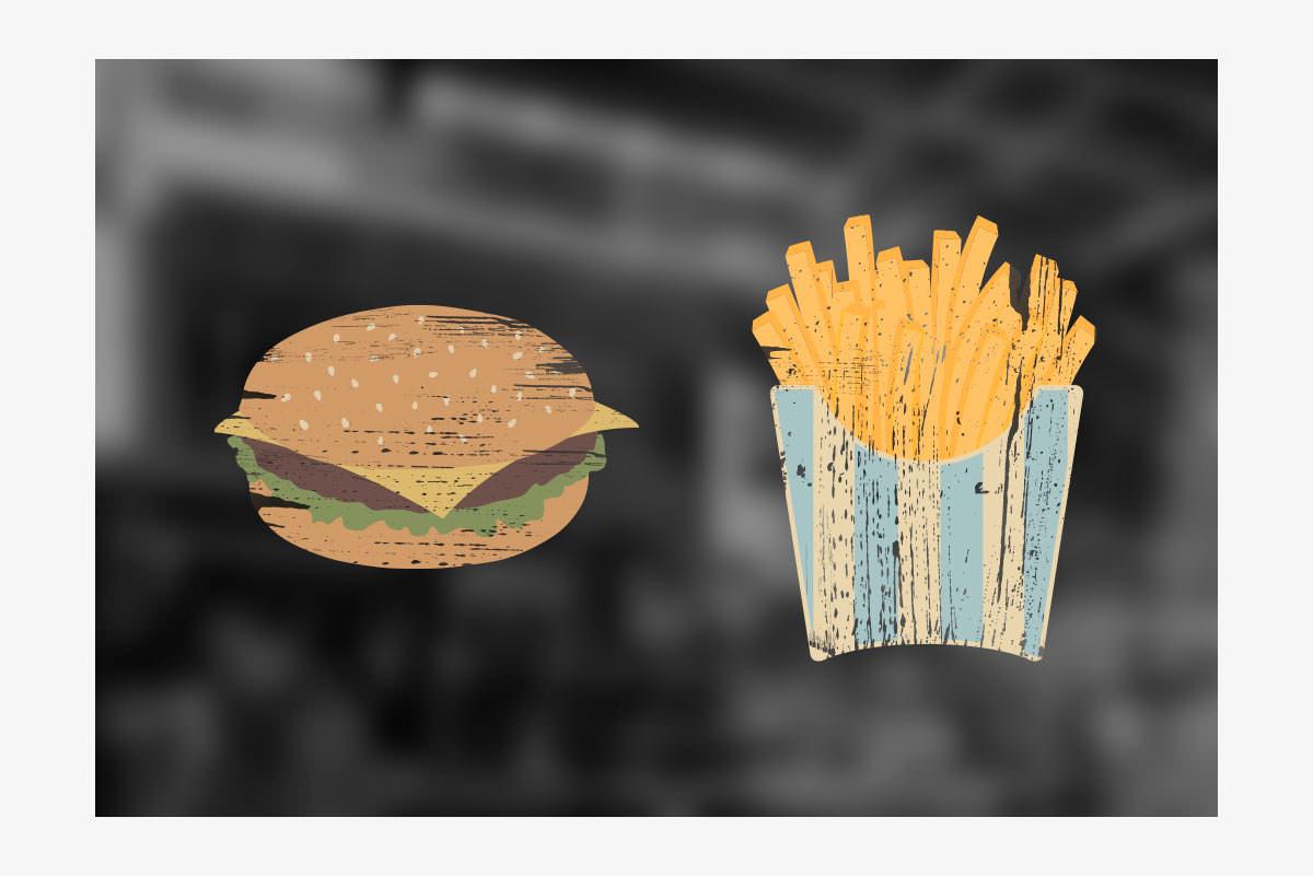 hamburger and fries vinyls