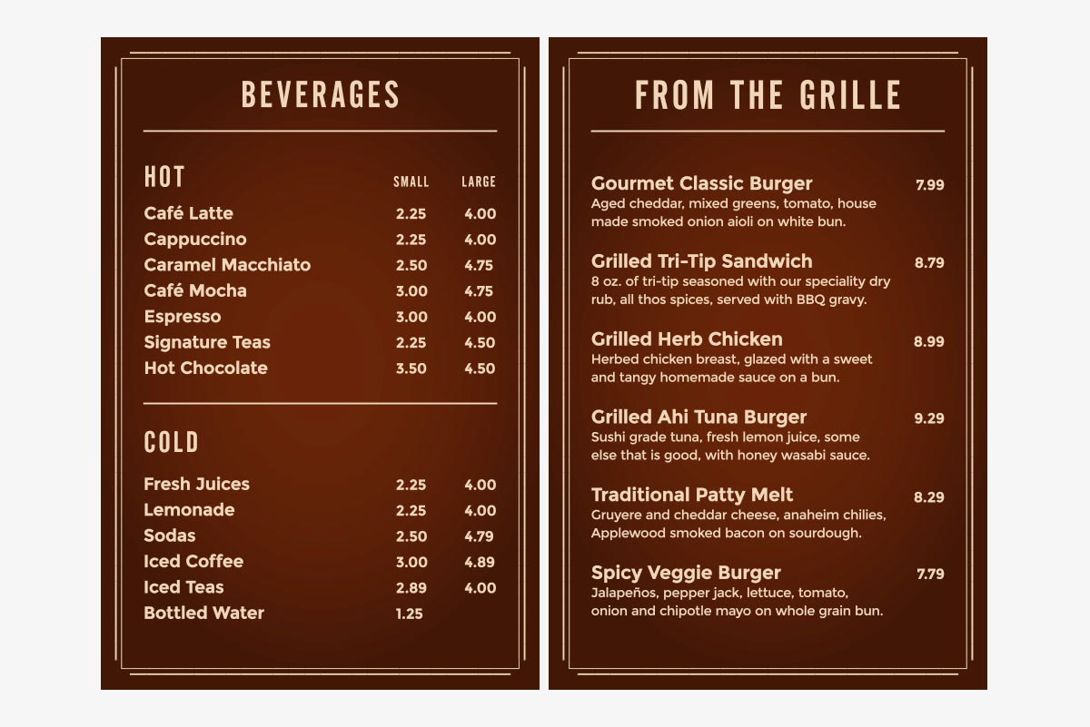 menu signs