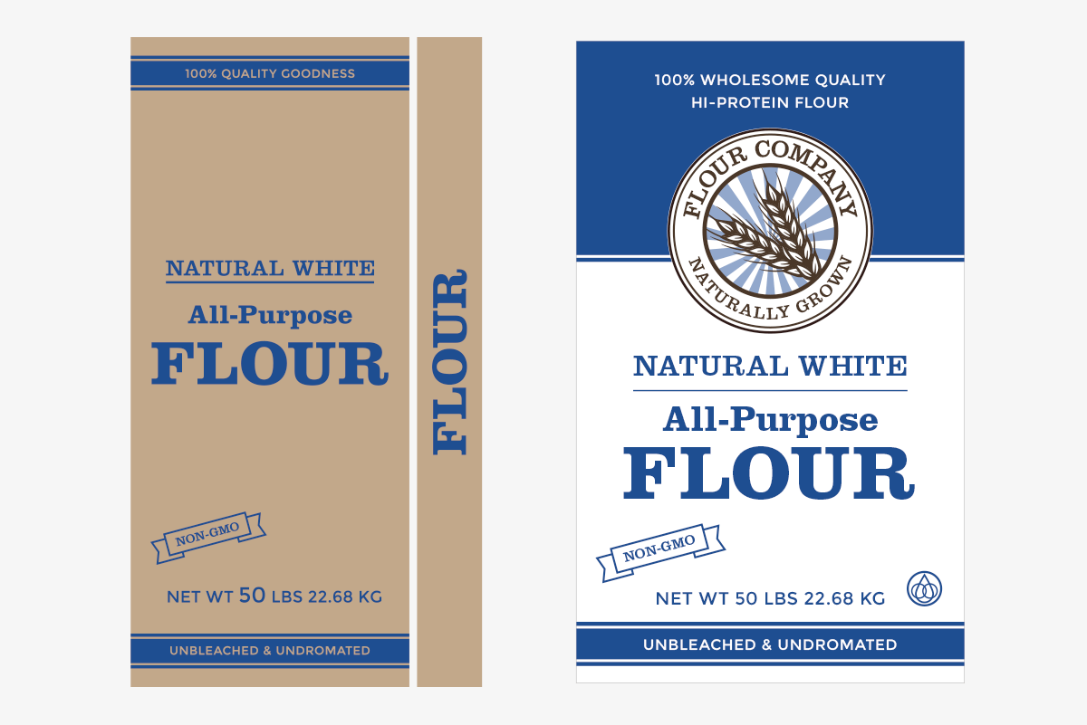 flour sack packagin