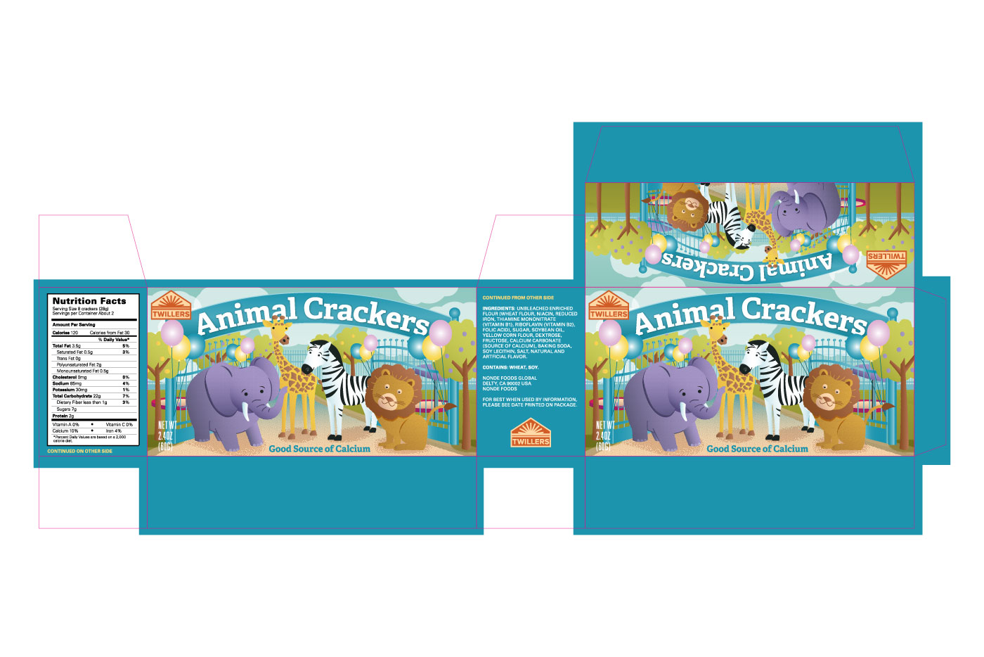 animal crackers box packaging