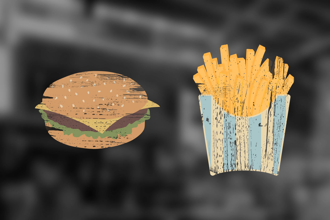 burger and fries graphics