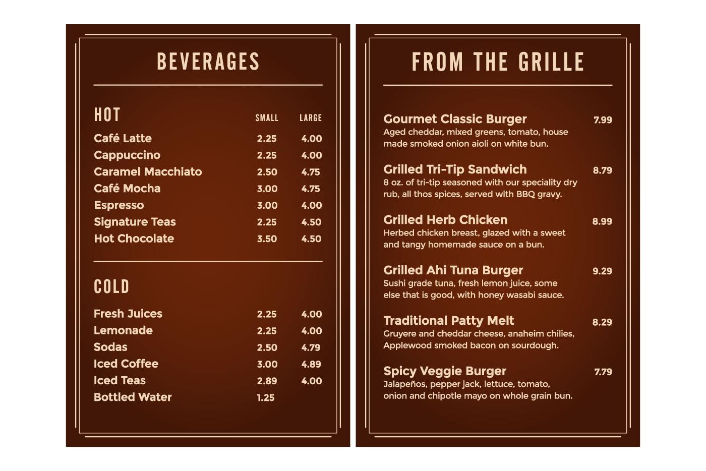 canteen menu graphics