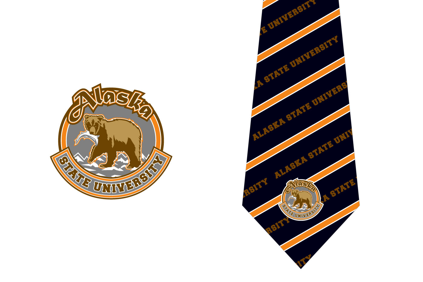 college tie and patch graphics